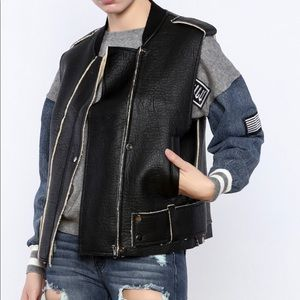 Faux leather shearling vest